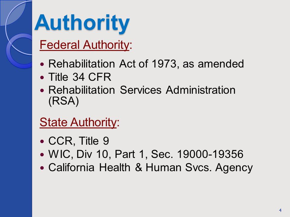 Authority Federal Authority: Rehabilitation Act of 1973, as amended Title 34 CFR Rehabilitation Services Administration (RSA) State Authority: CCR, Title 9 WIC, Div 10, Part 1, Sec.