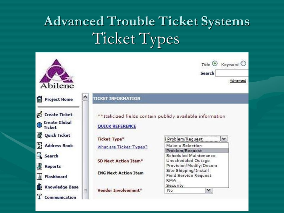 Advanced Trouble Ticket Systems Ticket Types