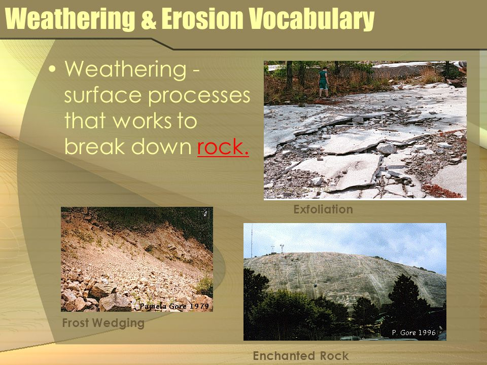 Weathering & Erosion Vocabulary Weathering - surface processes that works to break down rock. Exfoliation Frost Wedging Enchanted Rock