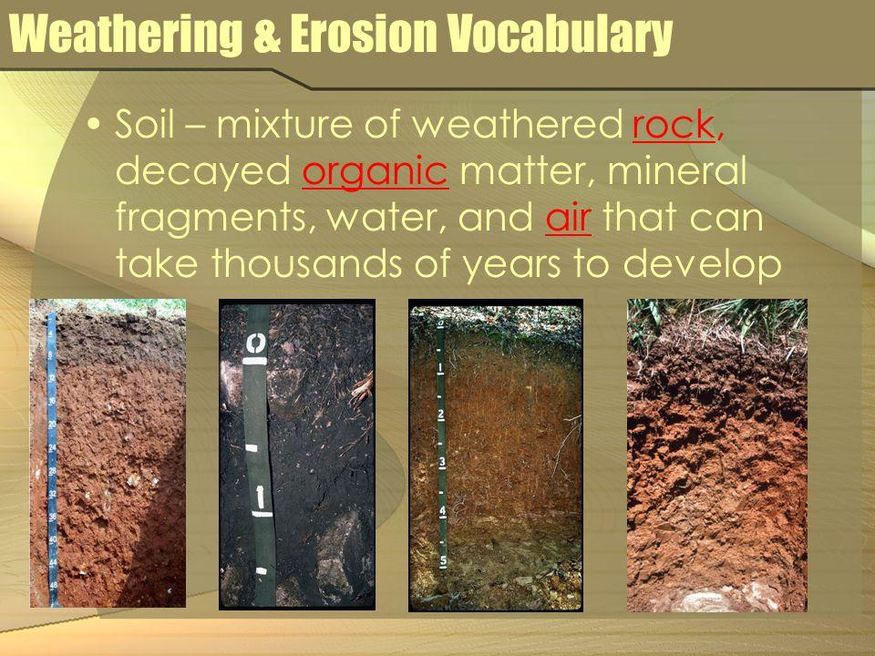 Weathering & Erosion Vocabulary Terracing – farming method used to reduce erosion on steep slopes.