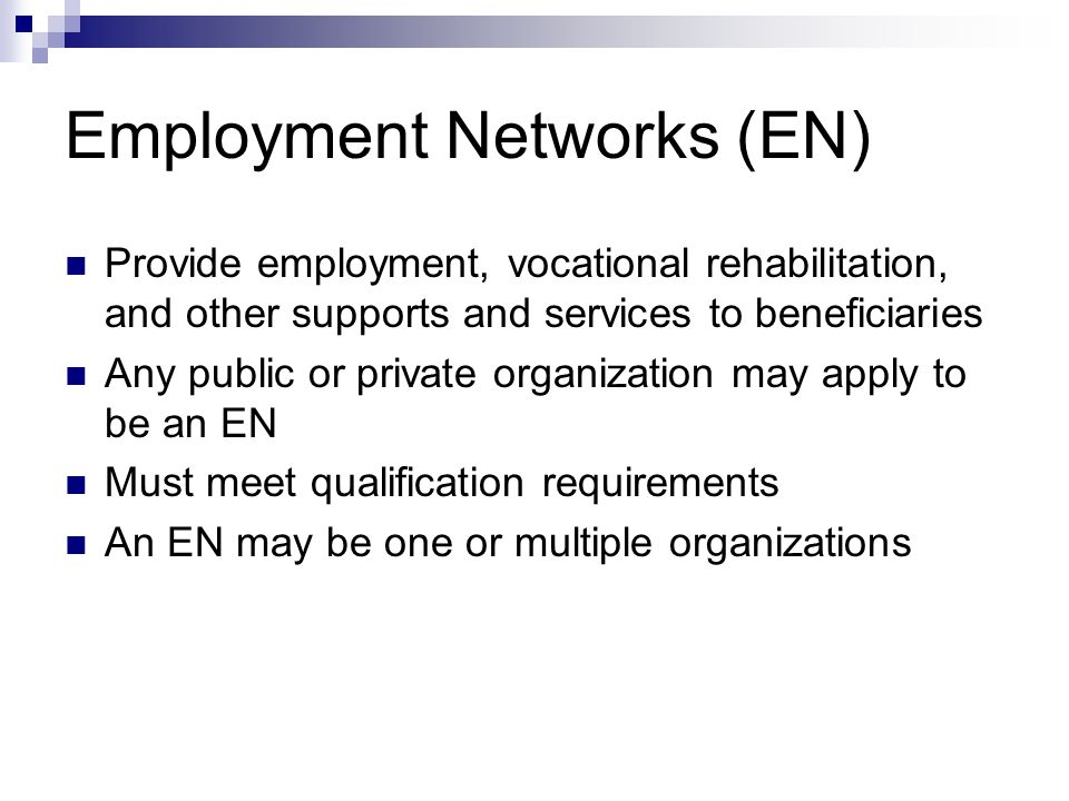 Employment Networks (EN) Provide employment, vocational rehabilitation, and other supports and services to beneficiaries Any public or private organiz