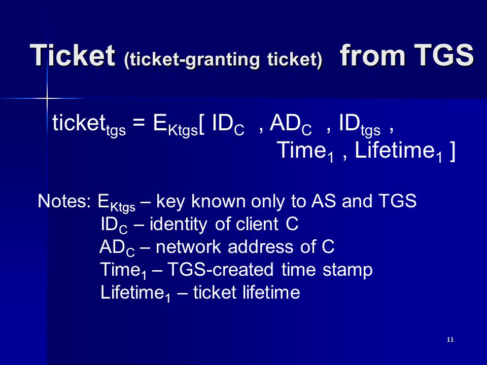 11 Ticket (ticket-granting ticket) from TGS ticket tgs = E Ktgs [ ID C, AD C, ID tgs, Time 1, Lifetime 1 ] Notes: E Ktgs – key known only to AS and TGS ID C – identity of client C AD C – network address of C Time 1 – TGS-created time stamp Lifetime 1 – ticket lifetime