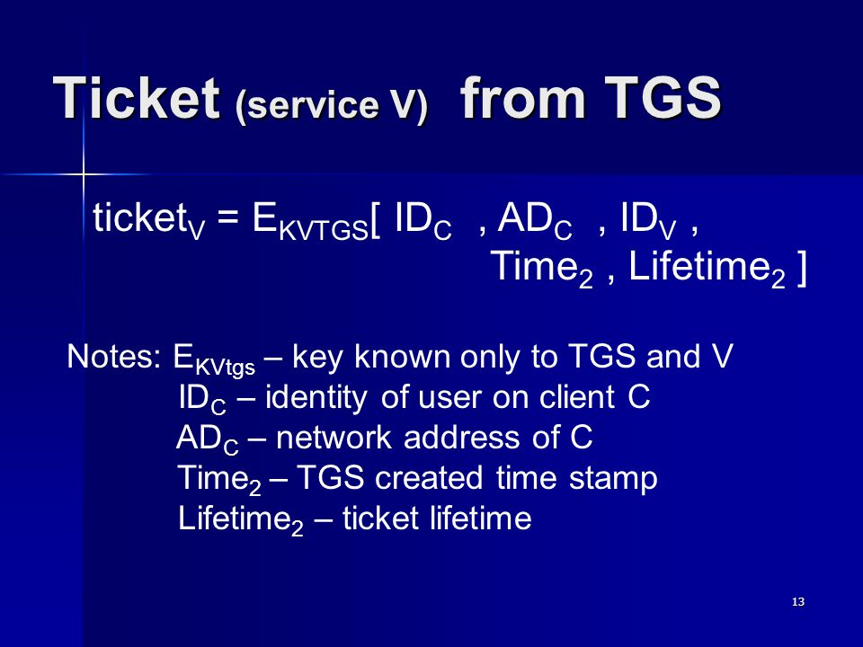 13 Ticket (service V) from TGS ticket V = E KVTGS [ ID C, AD C, ID V, Time 2, Lifetime 2 ] Notes: E KVtgs – key known only to TGS and V ID C – identit