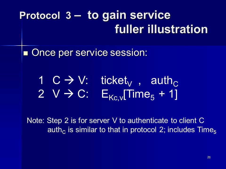 21 Protocol 3 – to gain service fuller illustration Once per service session: Once per service session: 1 C V: ticket V, auth C 2 V C: E Kc,v [Time 5 + 1] Note: Step 2 is for server V to authenticate to client C auth C is similar to that in protocol 2; includes Time 5