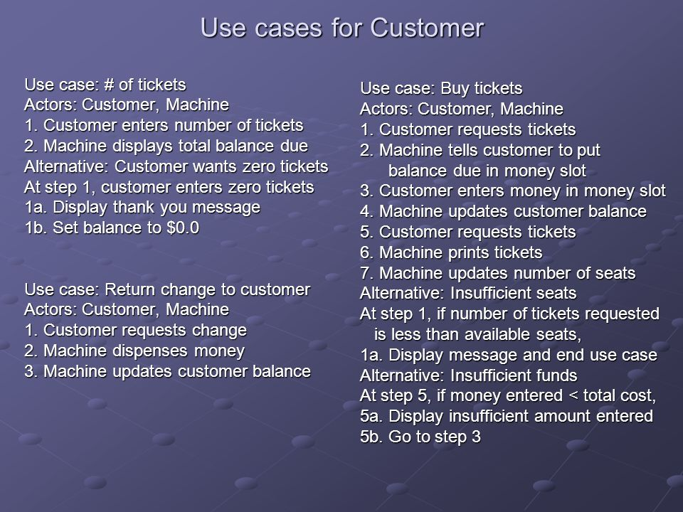 Use cases for Customer Use case: # of tickets Actors: Customer, Machine 1. Customer enters number of tickets 2. Machine displays total balance due Alt