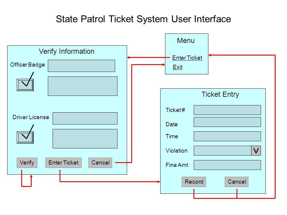 State Patrol Ticket System User Interface Officer Badge Driver License VerifyEnter TicketCancel RecordCancel Verify Information Ticket Entry Ticket #