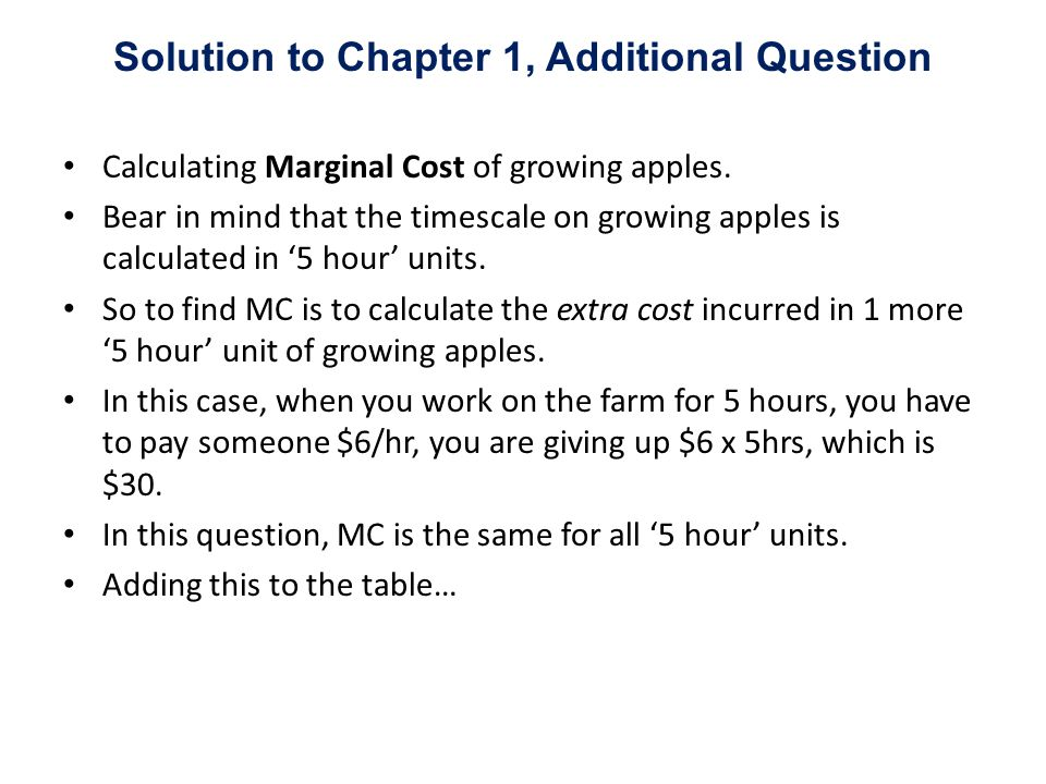 Calculating Marginal Cost of growing apples. Bear in mind that the timescale on growing apples is calculated in 5 hour units. So to find MC is to calc
