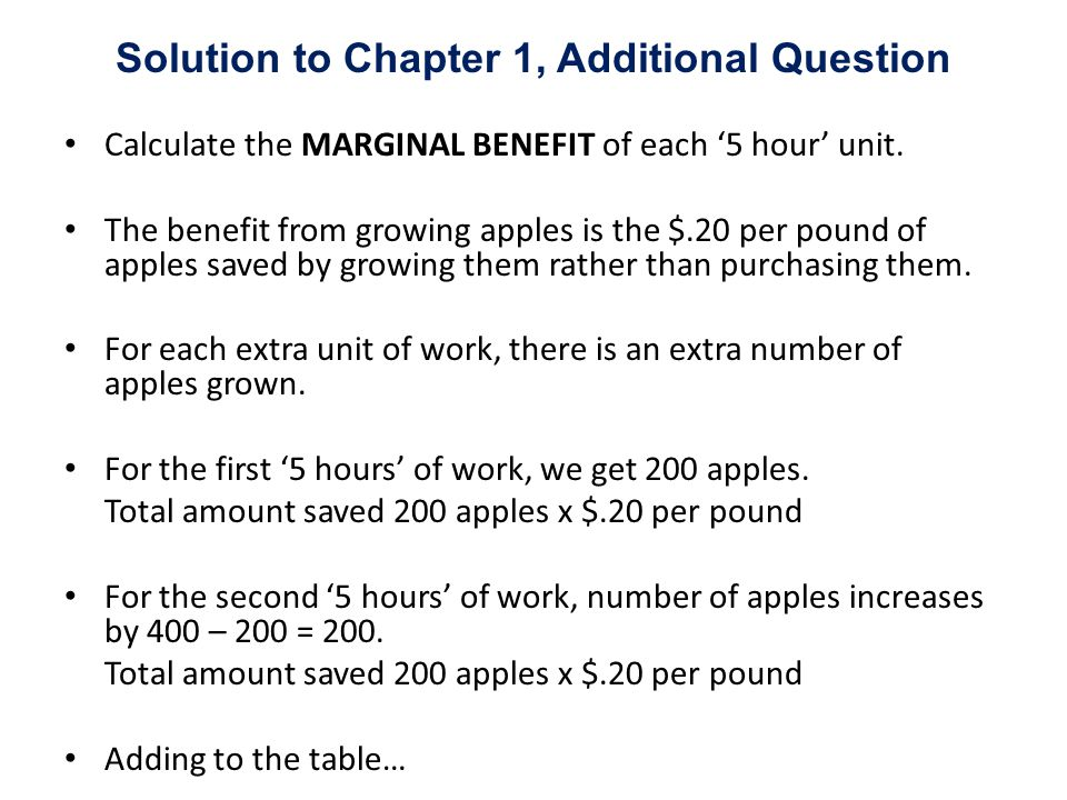 Calculate the MARGINAL BENEFIT of each 5 hour unit. The benefit from growing apples is the $.20 per pound of apples saved by growing them rather than