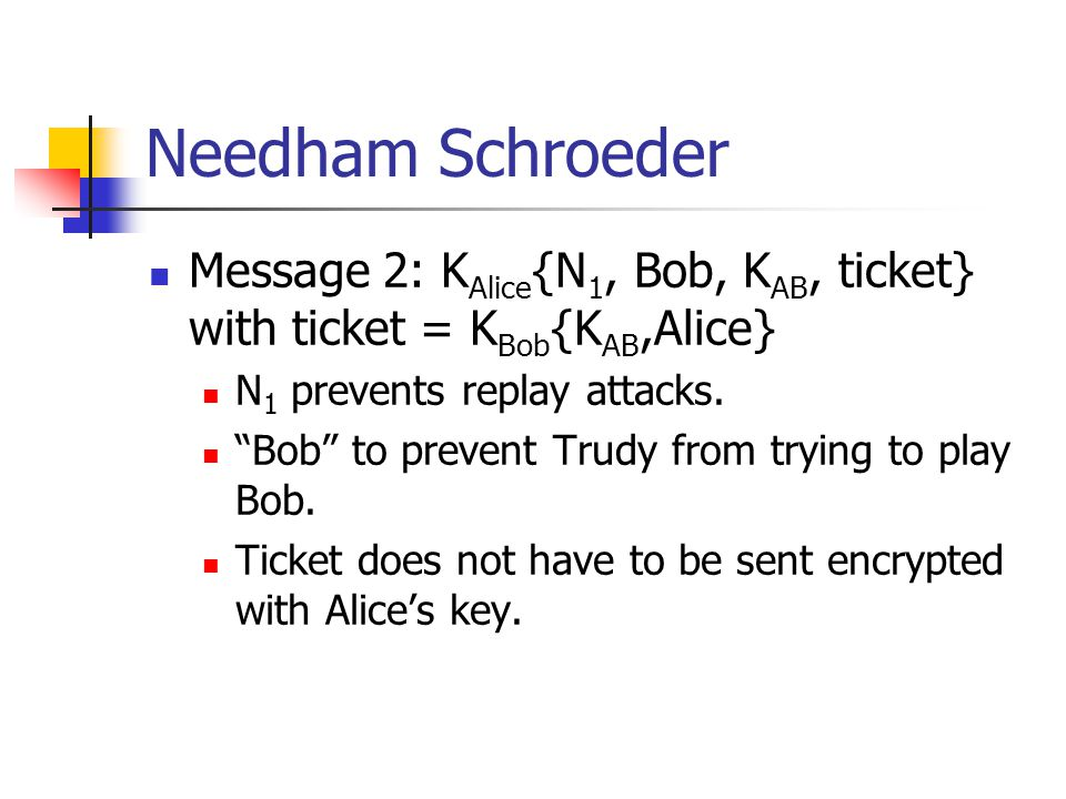 Message 2: K Alice {N 1, Bob, K AB, ticket} with ticket = K Bob {K AB,Alice} N 1 prevents replay attacks. Bob to prevent Trudy from trying to play Bob