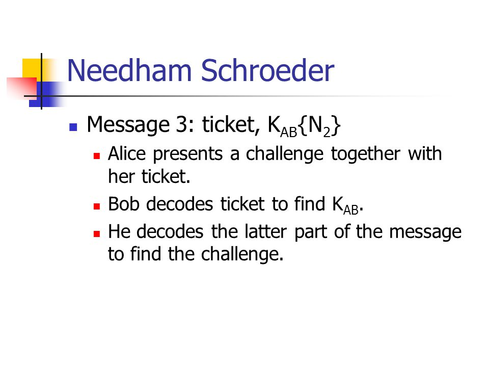 Message 3: ticket, K AB {N 2 } Alice presents a challenge together with her ticket. Bob decodes ticket to find K AB. He decodes the latter part of the