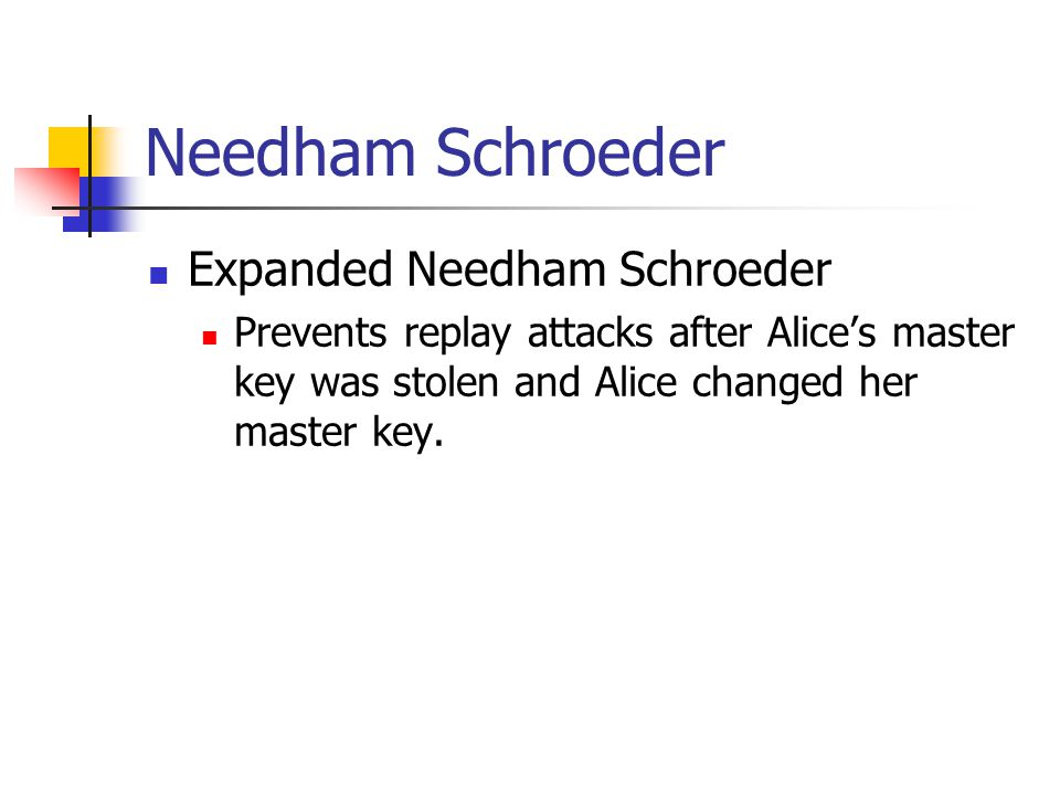 Needham Schroeder Expanded Needham Schroeder Prevents replay attacks after Alices master key was stolen and Alice changed her master key.