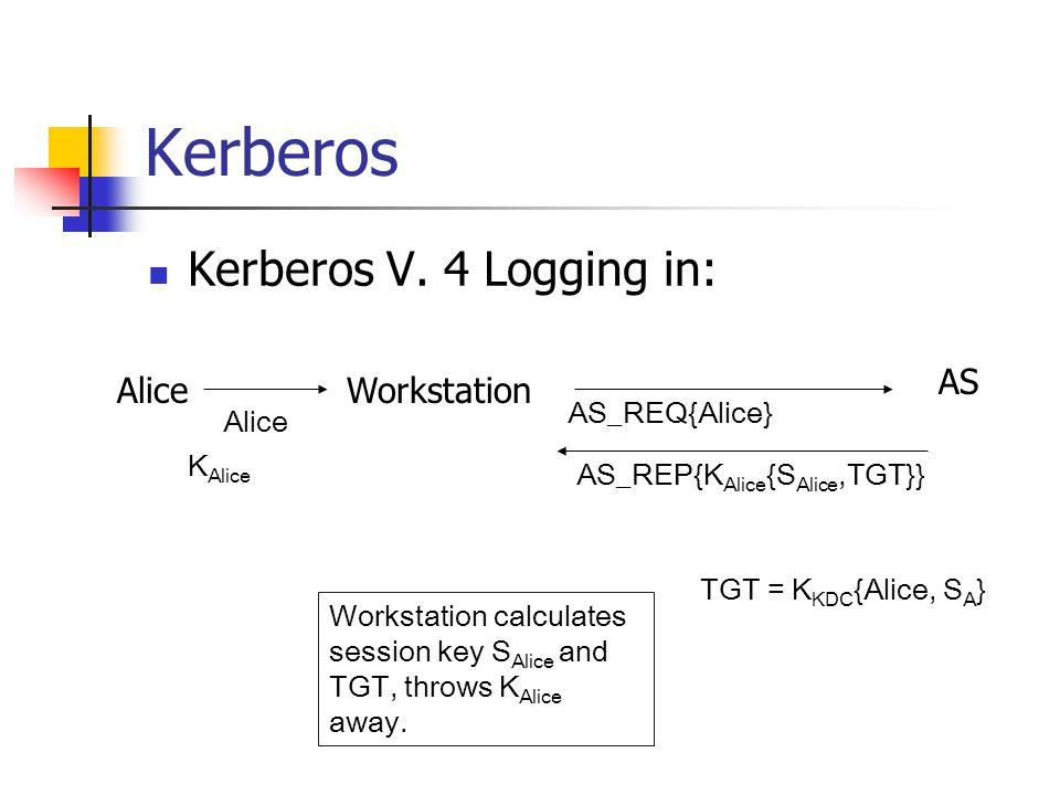 Kerberos Kerberos V. 4 Logging in: AliceWorkstation AS Alice AS_REQ{Alice} AS_REP{K Alice {S Alice,TGT}} K Alice Workstation calculates session key S