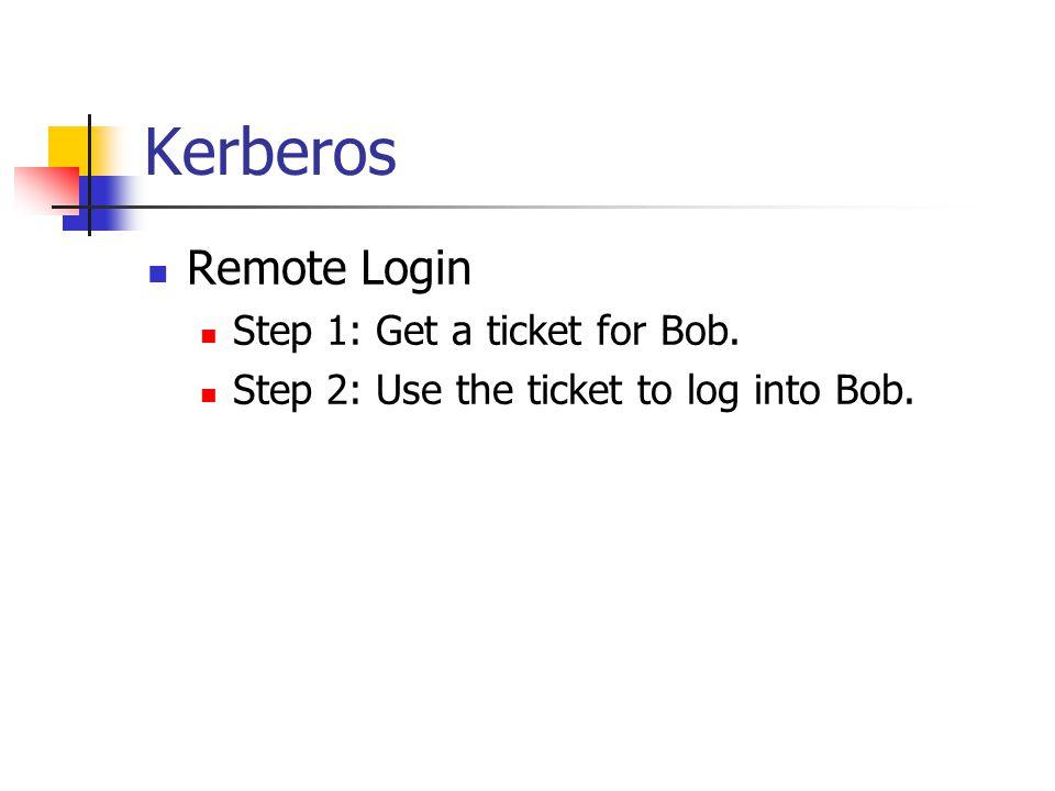 Kerberos Remote Login Step 1: Get a ticket for Bob. Step 2: Use the ticket to log into Bob.