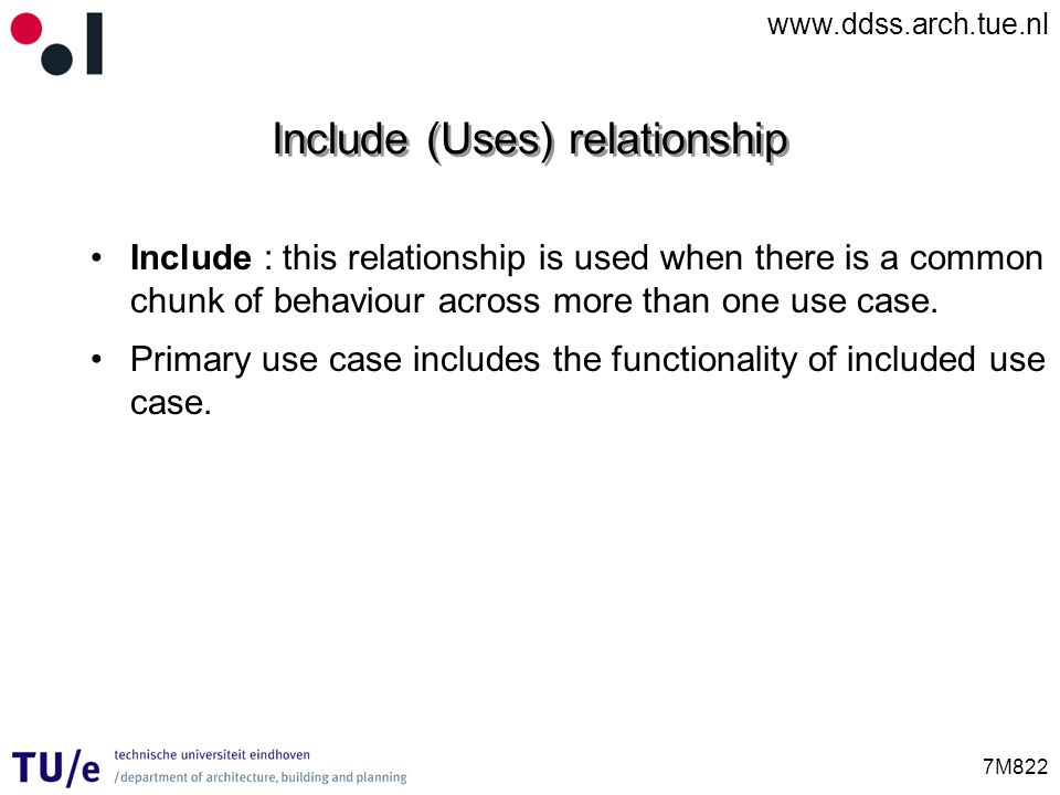www.ddss.arch.tue.nl 7M822 Include (Uses) relationship Include : this relationship is used when there is a common chunk of behaviour across more than