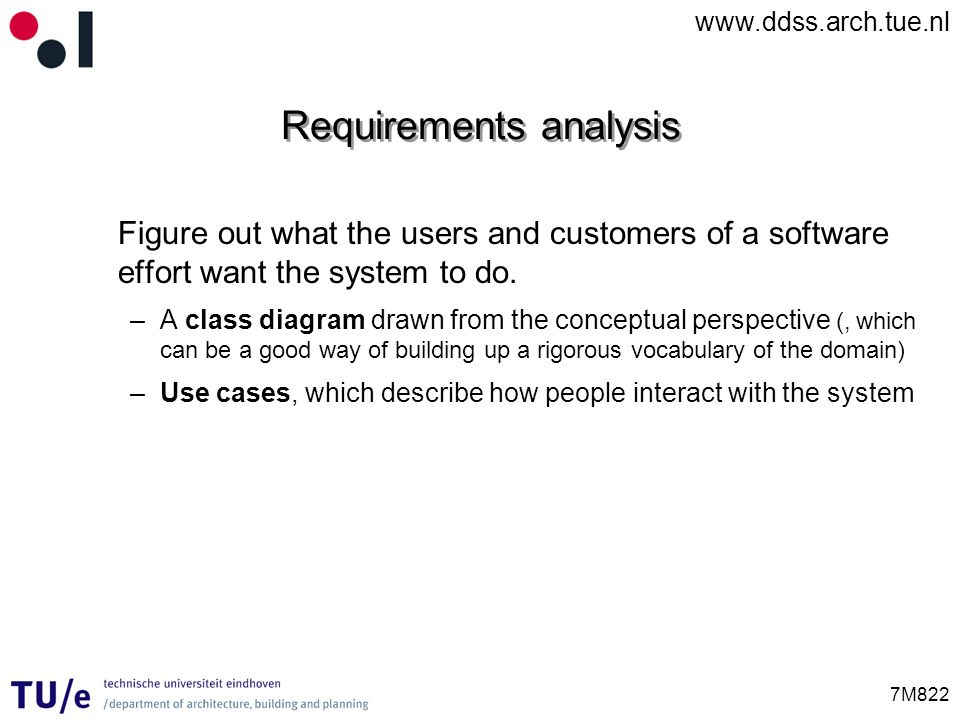 www.ddss.arch.tue.nl 7M822 Requirements analysis Figure out what the users and customers of a software effort want the system to do. –A class diagram