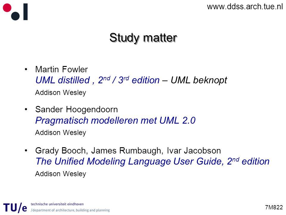 www.ddss.arch.tue.nl 7M822 Study matter Martin Fowler UML distilled, 2 nd / 3 rd edition – UML beknopt Addison Wesley Sander Hoogendoorn Pragmatisch m