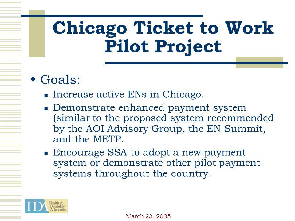 March 23, 2005 Chicago Ticket to Work Pilot Project Goals: Increase active ENs in Chicago.