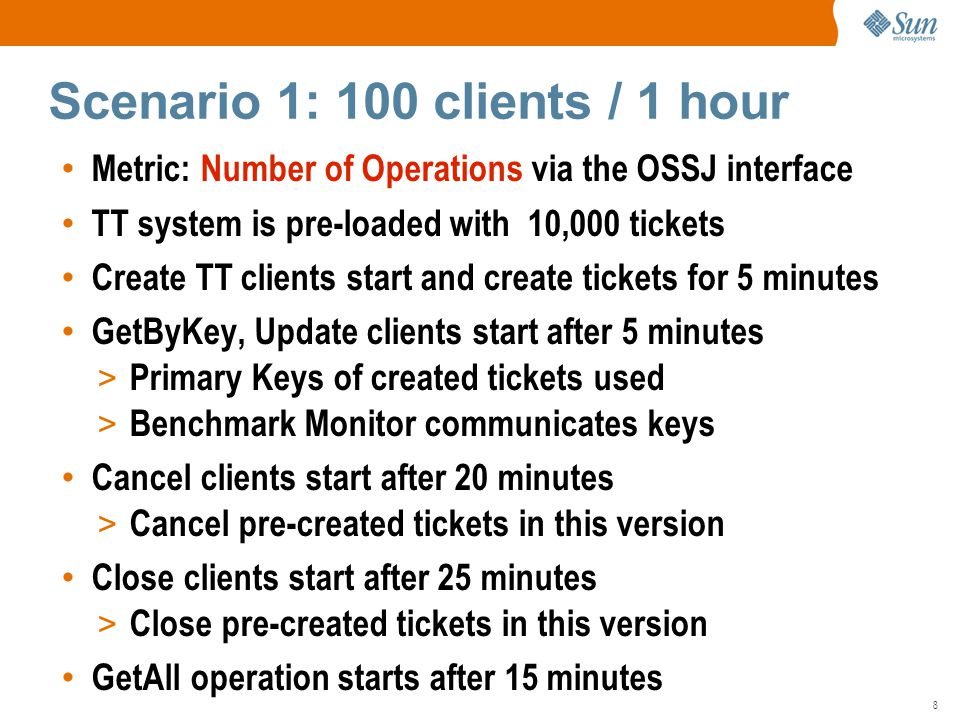 8 Metric: Number of Operations via the OSSJ interface TT system is pre-loaded with 10,000 tickets Create TT clients start and create tickets for 5 minutes GetByKey, Update clients start after 5 minutes > Primary Keys of created tickets used > Benchmark Monitor communicates keys Cancel clients start after 20 minutes > Cancel pre-created tickets in this version Close clients start after 25 minutes > Close pre-created tickets in this version GetAll operation starts after 15 minutes Scenario 1: 100 clients / 1 hour