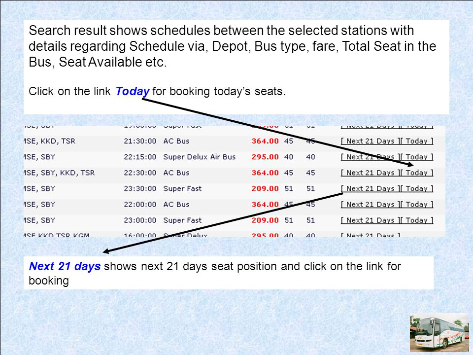 Search result shows schedules between the selected stations with details regarding Schedule via, Depot, Bus type, fare, Total Seat in the Bus, Seat Av