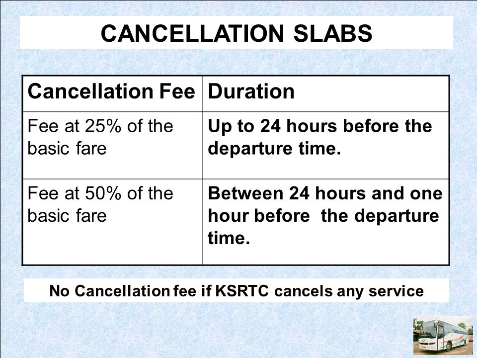 CANCELLATION SLABS Cancellation FeeDuration Fee at 25% of the basic fare Up to 24 hours before the departure time. Fee at 50% of the basic fare Betwee