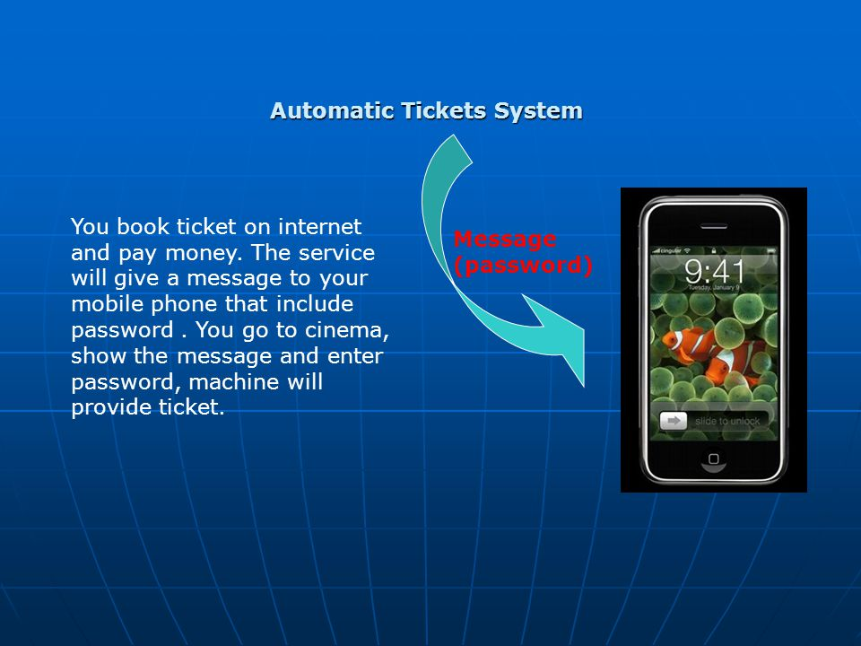 Automatic Tickets System You book ticket on internet and pay money. The service will give a message to your mobile phone that include password. You go