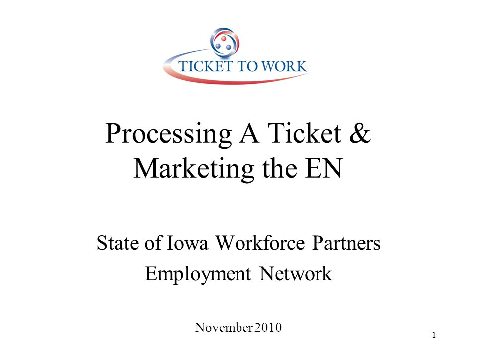Outreach to Ticket Holders Workforce partners events (Job Fairs, RES workshops, other events) Ticket Informational Meetings at workforce center – recognized best practice for time management 1 hour per week followed by appts.