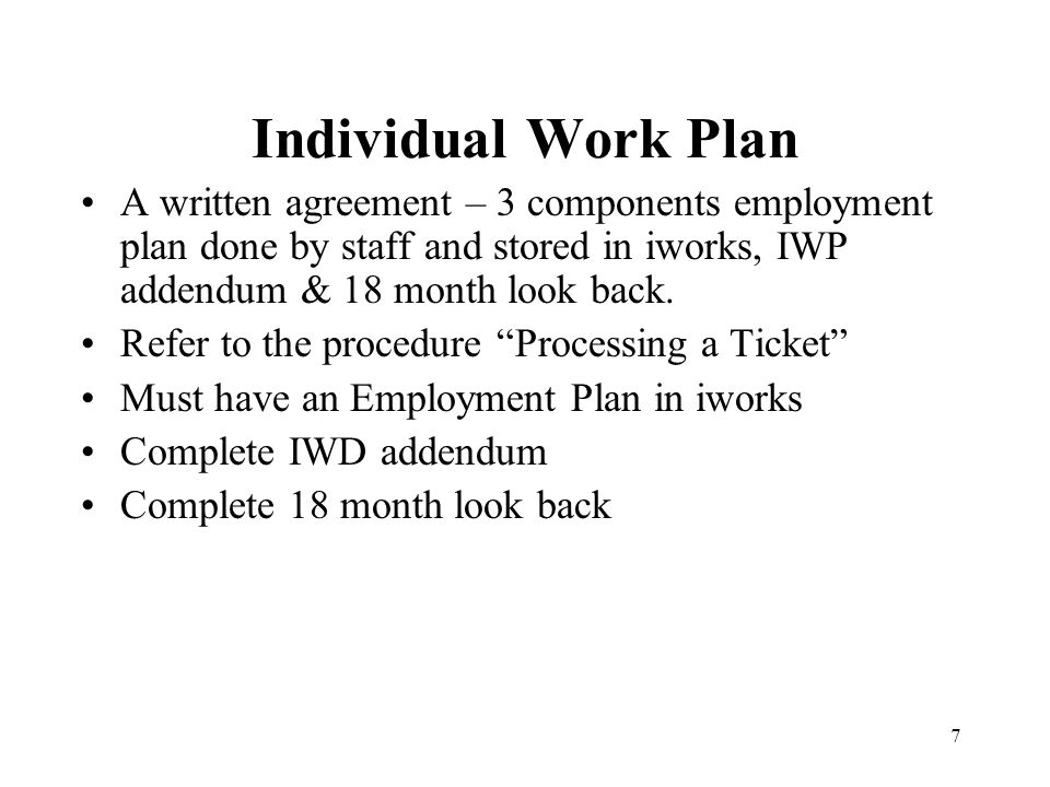 Individual Work Plan A written agreement – 3 components employment plan done by staff and stored in iworks, IWP addendum & 18 month look back.