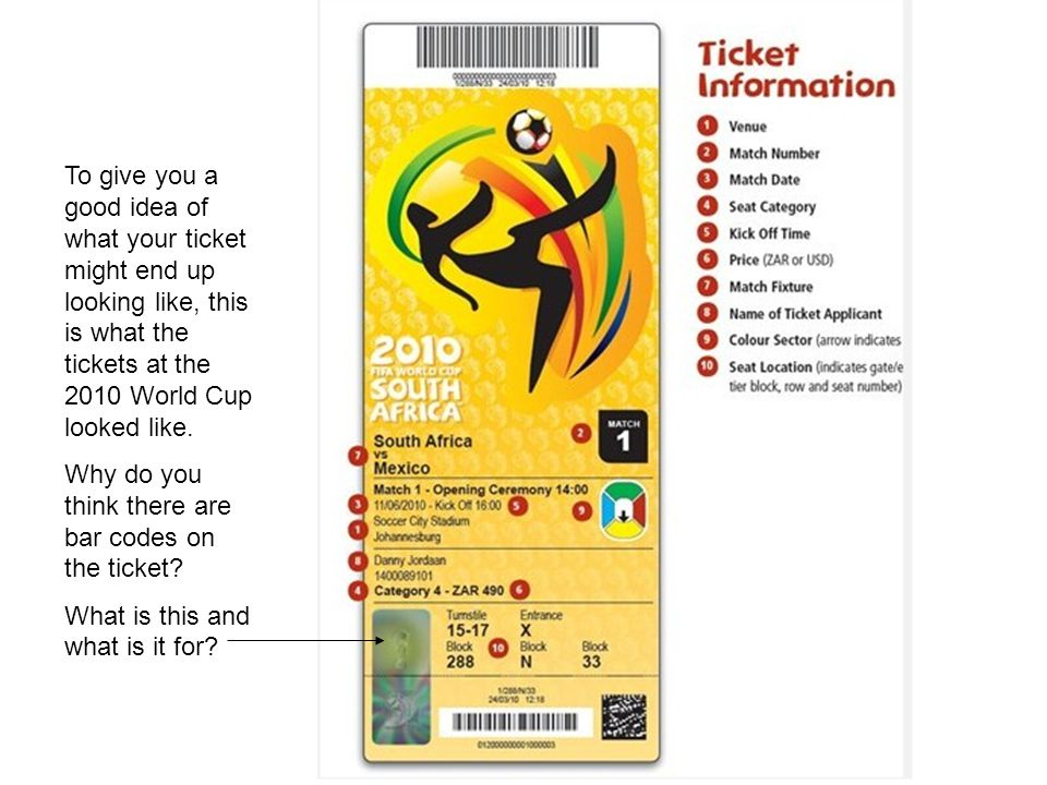 To give you a good idea of what your ticket might end up looking like, this is what the tickets at the 2010 World Cup looked like.