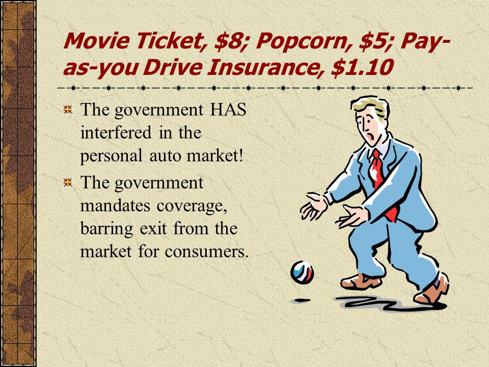 Movie Ticket, $8; Popcorn, $5; Pay- as-you Drive Insurance, $1.10 The government HAS interfered in the personal auto market.