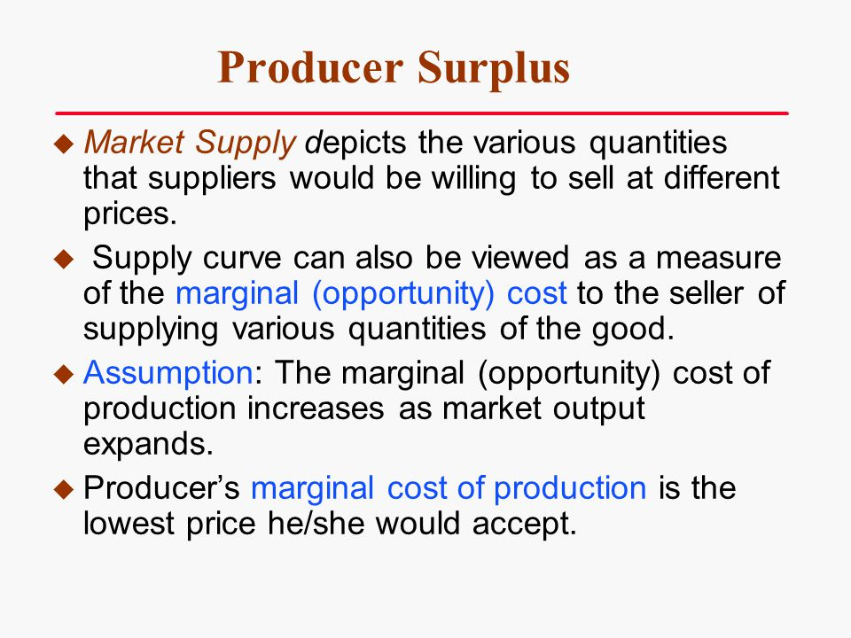 Producer Surplus Market Supply depicts the various quantities that suppliers would be willing to sell at different prices. Supply curve can also be vi