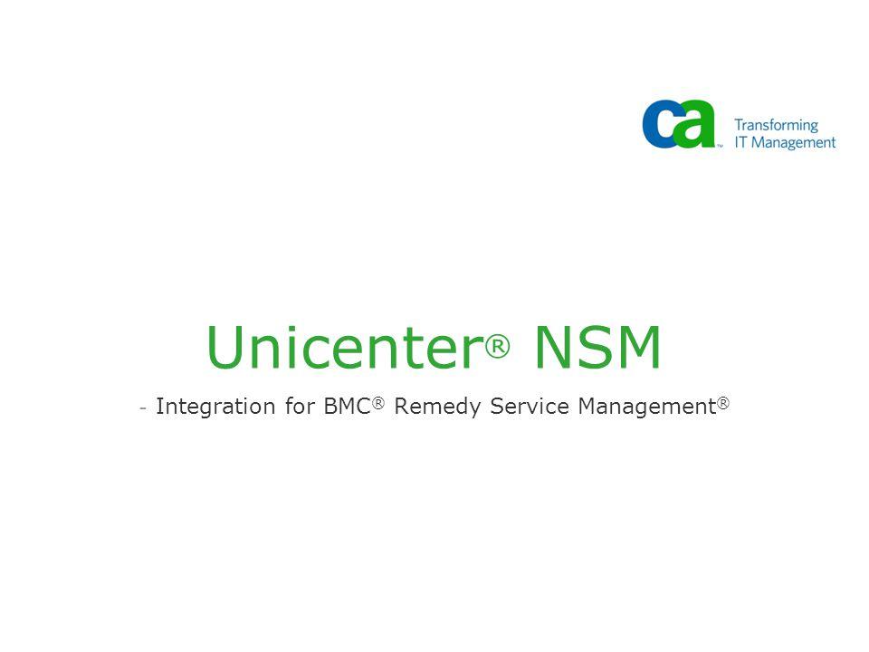 Unicenter ® NSM - Integration for BMC ® Remedy Service Management ®