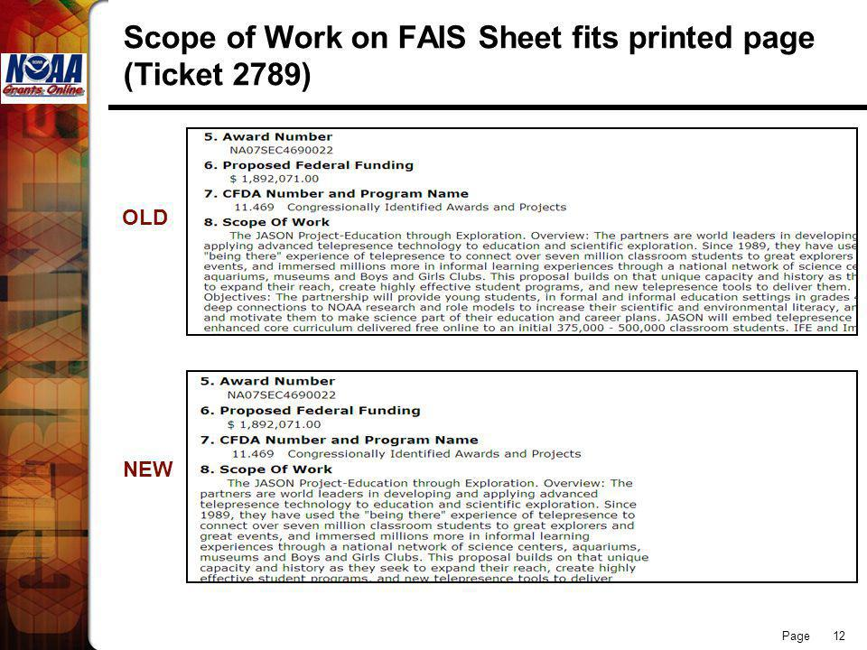 Page 12 Scope of Work on FAIS Sheet fits printed page (Ticket 2789) OLD NEW