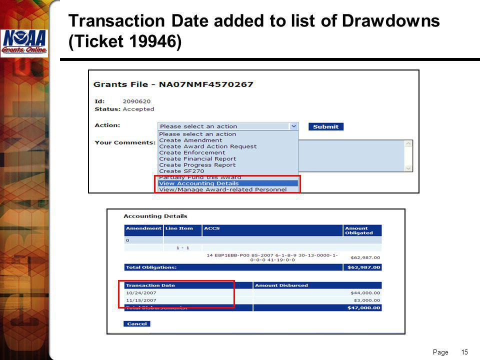 Page 15 Transaction Date added to list of Drawdowns (Ticket 19946)