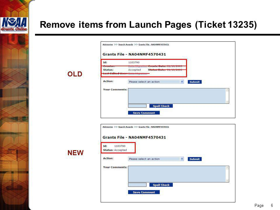 Page 6 Remove items from Launch Pages (Ticket 13235) OLD NEW