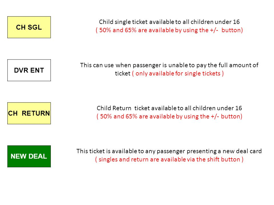 CH SGL DVR ENT CH RETURN NEW DEAL Child single ticket available to all children under 16 ( 50% and 65% are available by using the +/- button) Child Return ticket available to all children under 16 ( 50% and 65% are available by using the +/- button) This can use when passenger is unable to pay the full amount of ticket ( only available for single tickets ) This ticket is available to any passenger presenting a new deal card ( singles and return are available via the shift button )