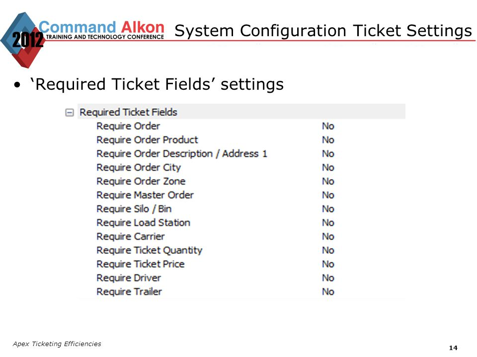Apex Ticketing Efficiencies 14 Required Ticket Fields settings System Configuration Ticket Settings