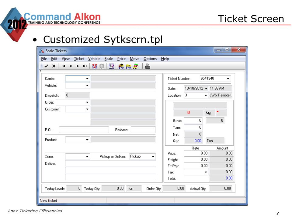 Apex Ticketing Efficiencies 7 Ticket Screen Customized Sytkscrn.tpl