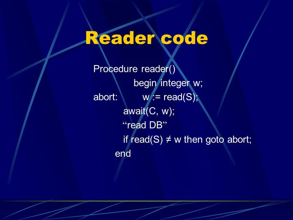 Reader code Procedure reader() begin integer w; abort: w := read(S); await(C, w); read DB if read(S) w then goto abort; end