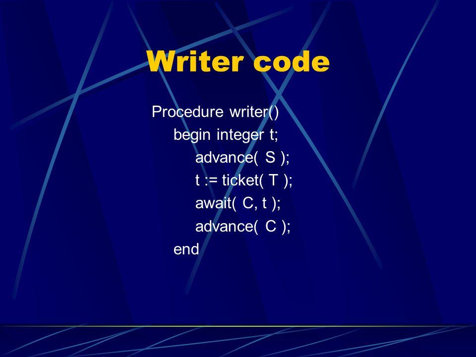 Writer code Procedure writer() begin integer t; advance( S ); t := ticket( T ); await( C, t ); advance( C ); end