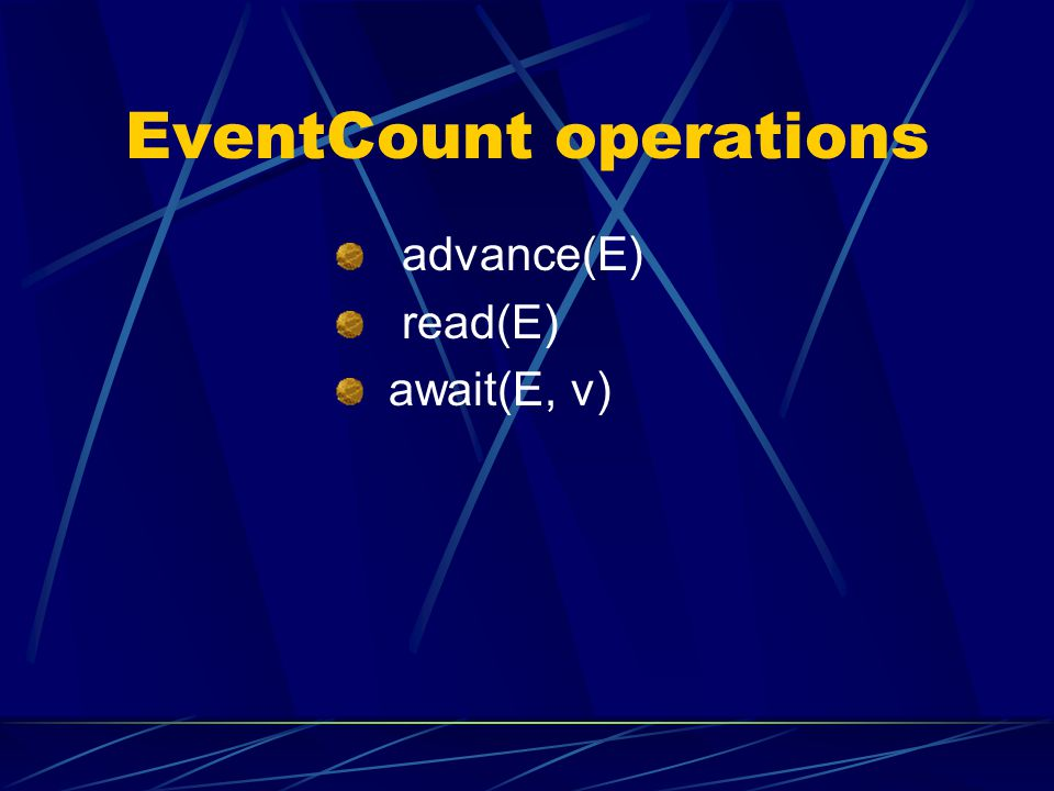 EventCount operations advance(E) read(E) await(E, v)