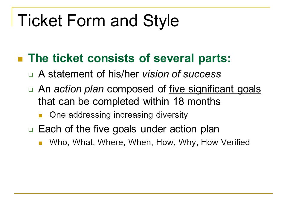 Ticket Form and Style The ticket consists of several parts: A statement of his/her vision of success An action plan composed of five significant goals