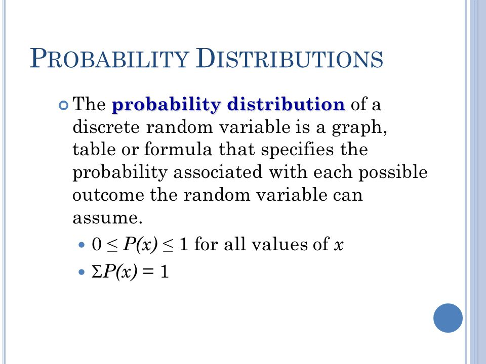 P ROBABILITY D ISTRIBUTIONS probability distribution The probability distribution of a discrete random variable is a graph, table or formula that spec