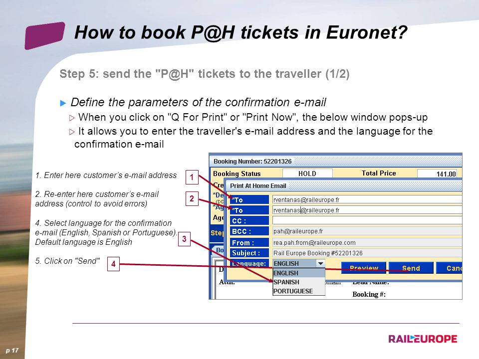 How to book P@H tickets in Euronet.