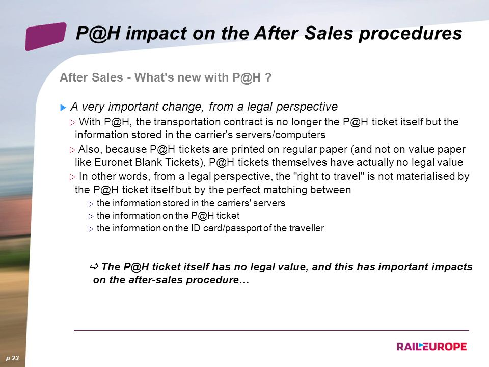 p 23 impact on the After Sales procedures After Sales - What s new with .