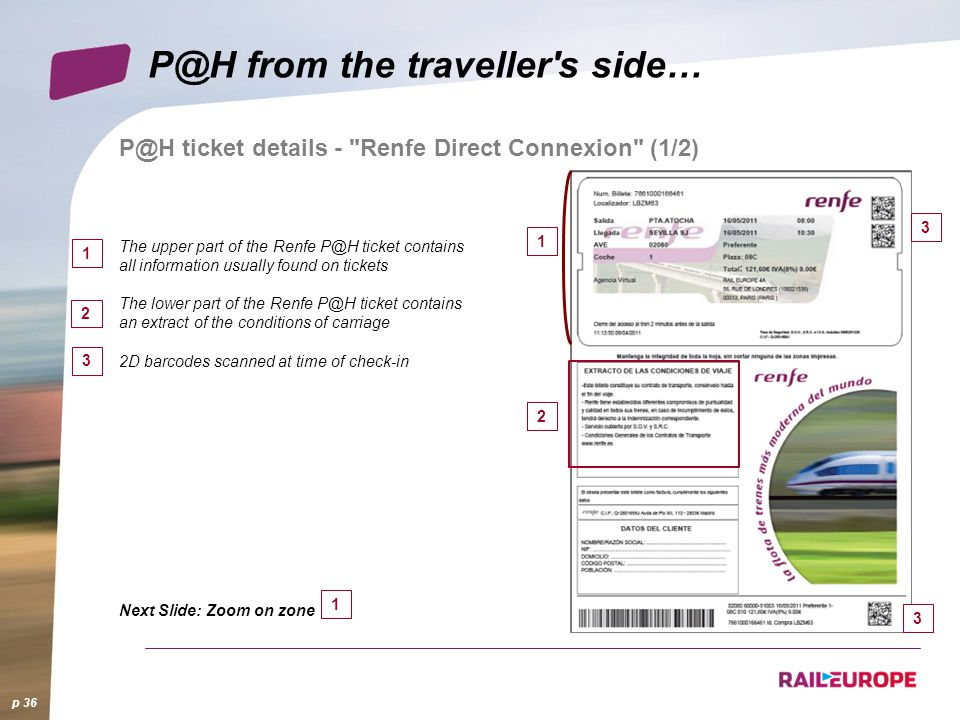 P@H ticket details - Renfe Direct Connexion (1/2) p 36 P@H from the traveller s side… 1 2 The upper part of the Renfe P@H ticket contains all information usually found on tickets The lower part of the Renfe P@H ticket contains an extract of the conditions of carriage 2D barcodes scanned at time of check-in Next Slide: Zoom on zone 1 2 3 3 3 1