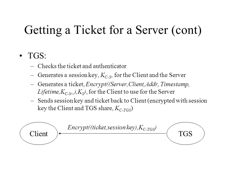 Getting a Ticket for a Server (cont) TGS: –Checks the ticket and authenticator –Generates a session key, K C-S, for the Client and the Server –Generates a ticket, Encrypt((Server,Client,Addr, Timestamp, Lifetime,K C-S,,),K S ), for the Client to use for the Server –Sends session key and ticket back to Client (encrypted with session key the Client and TGS share, K C-TGS ) ClientTGS Encrypt((ticket,session key),K C-TGS )