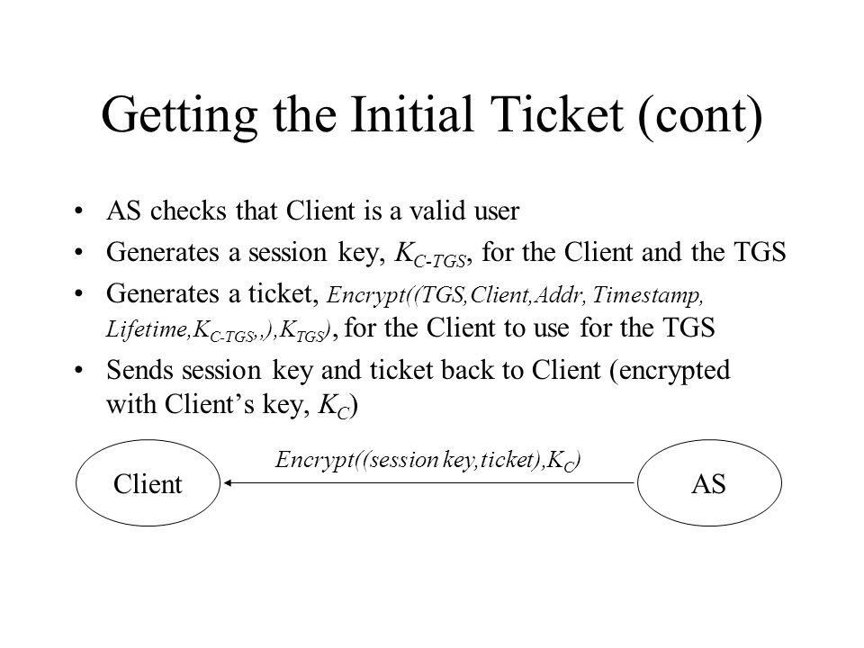 Getting the Initial Ticket (cont) User enters password Password is converted to a DES key and used to decrypt the ASs reply Clients machine: –Stores session key and ticket –Erases the users password and DES key from memory