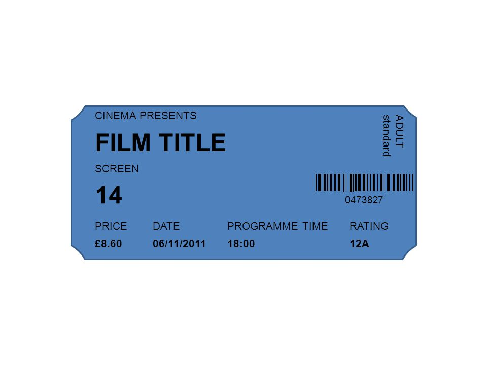 0473827 CINEMA PRESENTS SCREEN PRICEDATEPROGRAMME TIMERATING ADULT standard FILM TITLE 14 £8.6006/11/201118:0012A