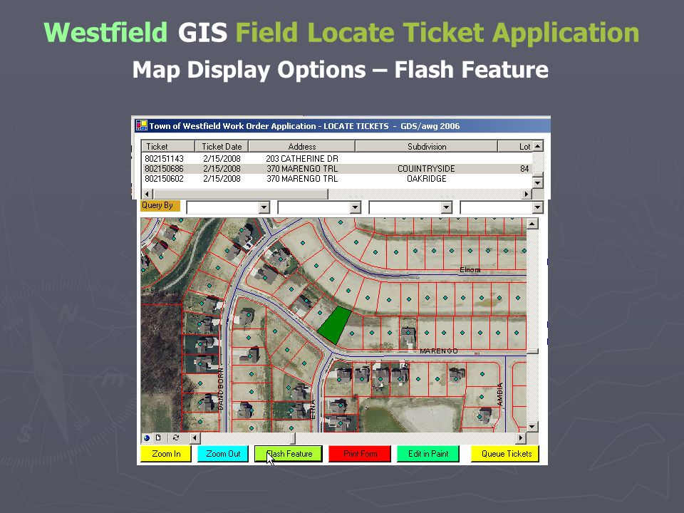 Westfield GIS Field Locate Ticket Application Map Display Options – Flash Feature