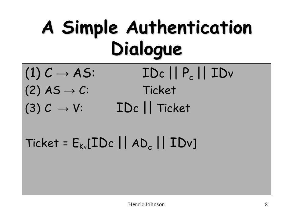 Henric Johnson8 A Simple Authentication Dialogue (1)C AS: ID c || P c || ID v (2)AS C:Ticket (3)C V: ID c || Ticket Ticket = E K v [ ID c || AD c || ID v]